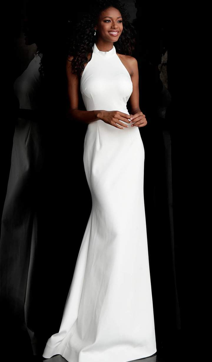 Jovani - Sleeveless High Halter Trumpet Dress With Train 67661SC In White