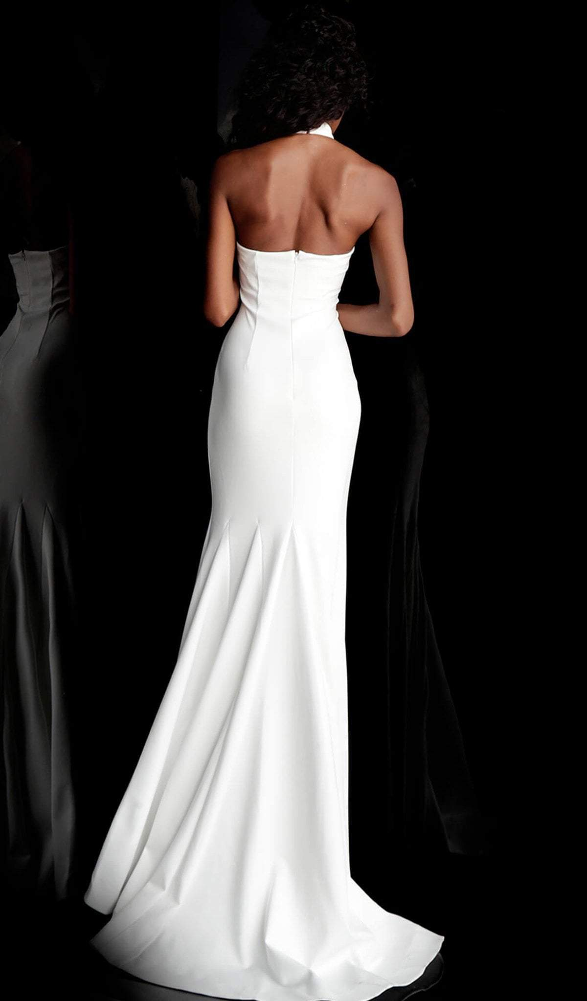 Jovani - 67661 Sleeveless High Halter Trumpet Dress With Train In White
