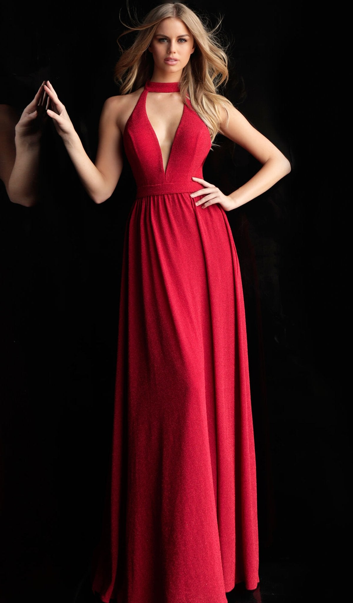 Jovani - 67766 High Halter A-line Dress With Front Cutout In Red