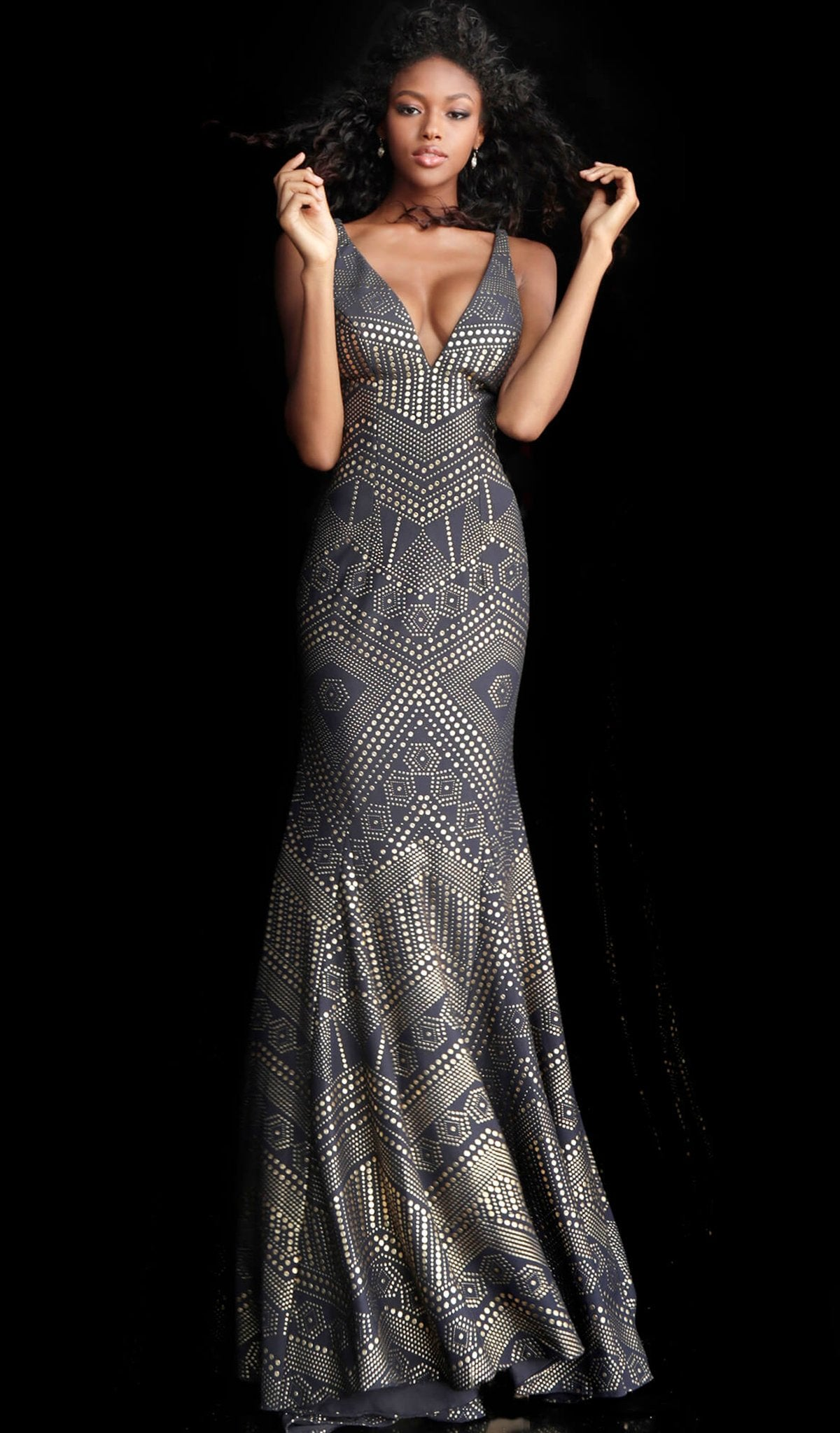 Jovani - 67844 Embellished Deep V-neck Mermaid Dress With Train in Blue and Gold