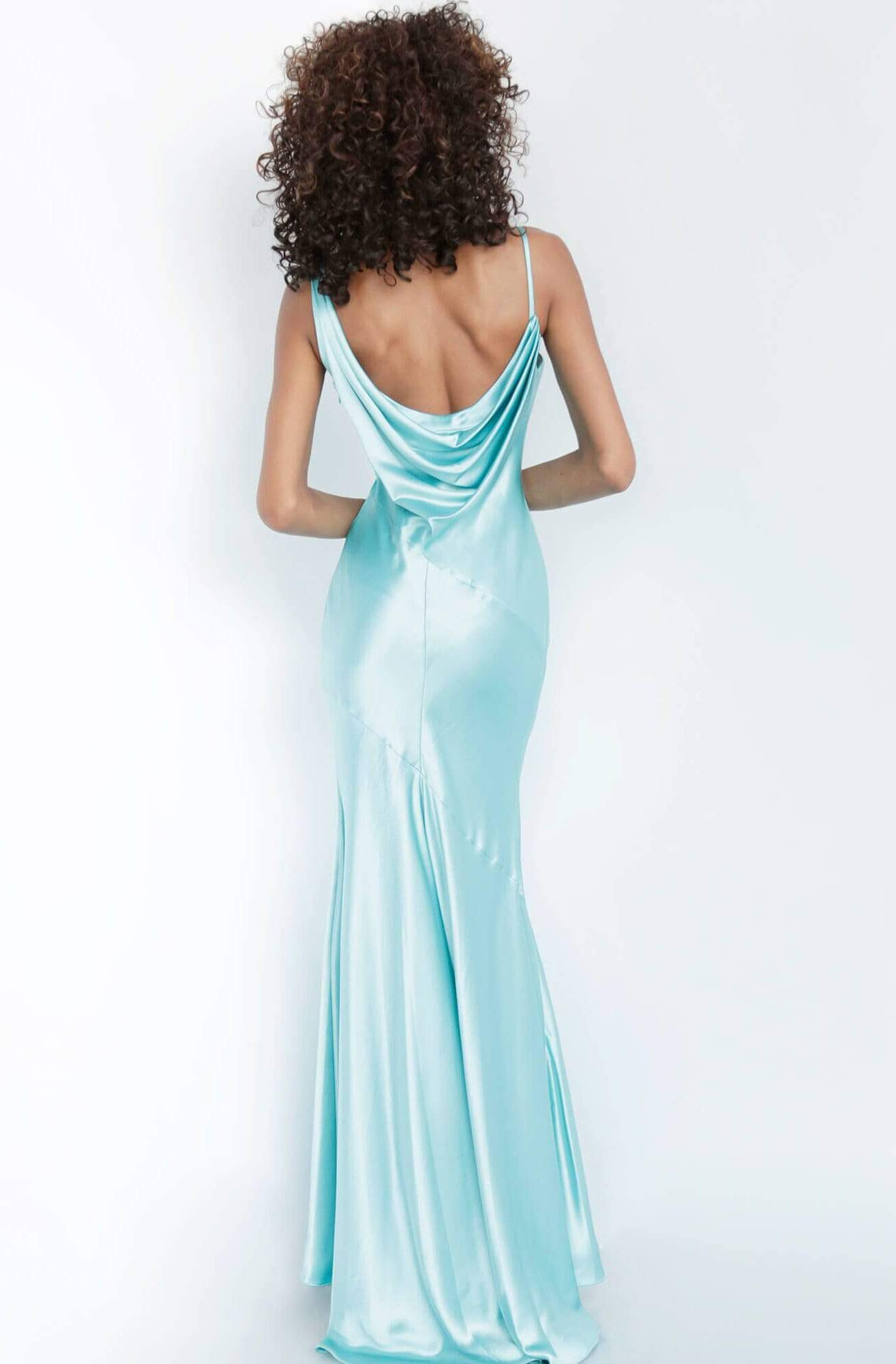 Jovani - 68506 Cowl Neck Satin Sheath Dress Evening Dresses