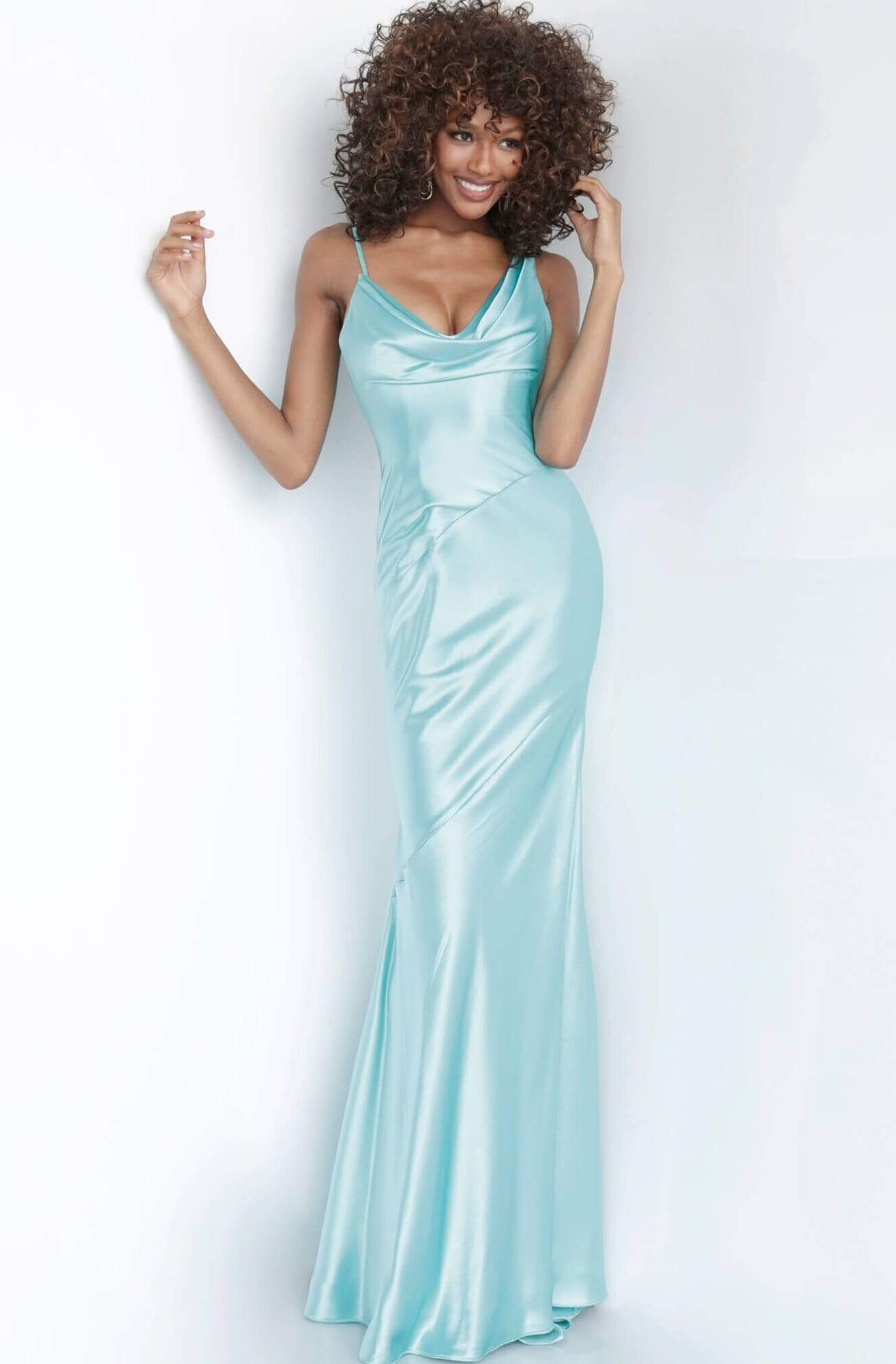 Jovani - 68506 Cowl Neck Satin Sheath Dress Evening Dresses 00 / Aqua