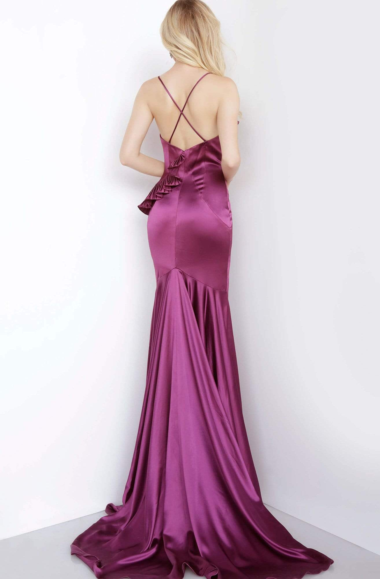 Jovani - 68520 Deep V-neck Trumpet Dress With Ruffle Details Evening Dresses
