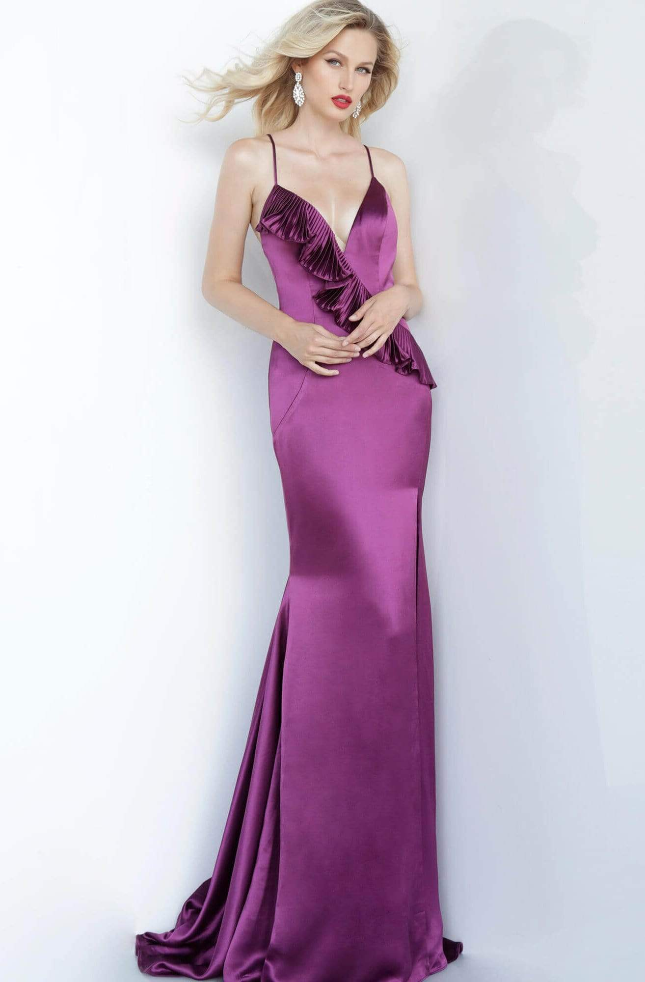 Jovani - 68520 Deep V-neck Trumpet Dress With Ruffle Details Evening Dresses 00 / Purple
