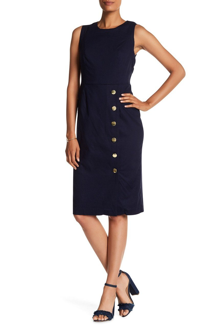 Nina Leonard - L5695A Sleeveless Front Button Sheath Dress in Blue
