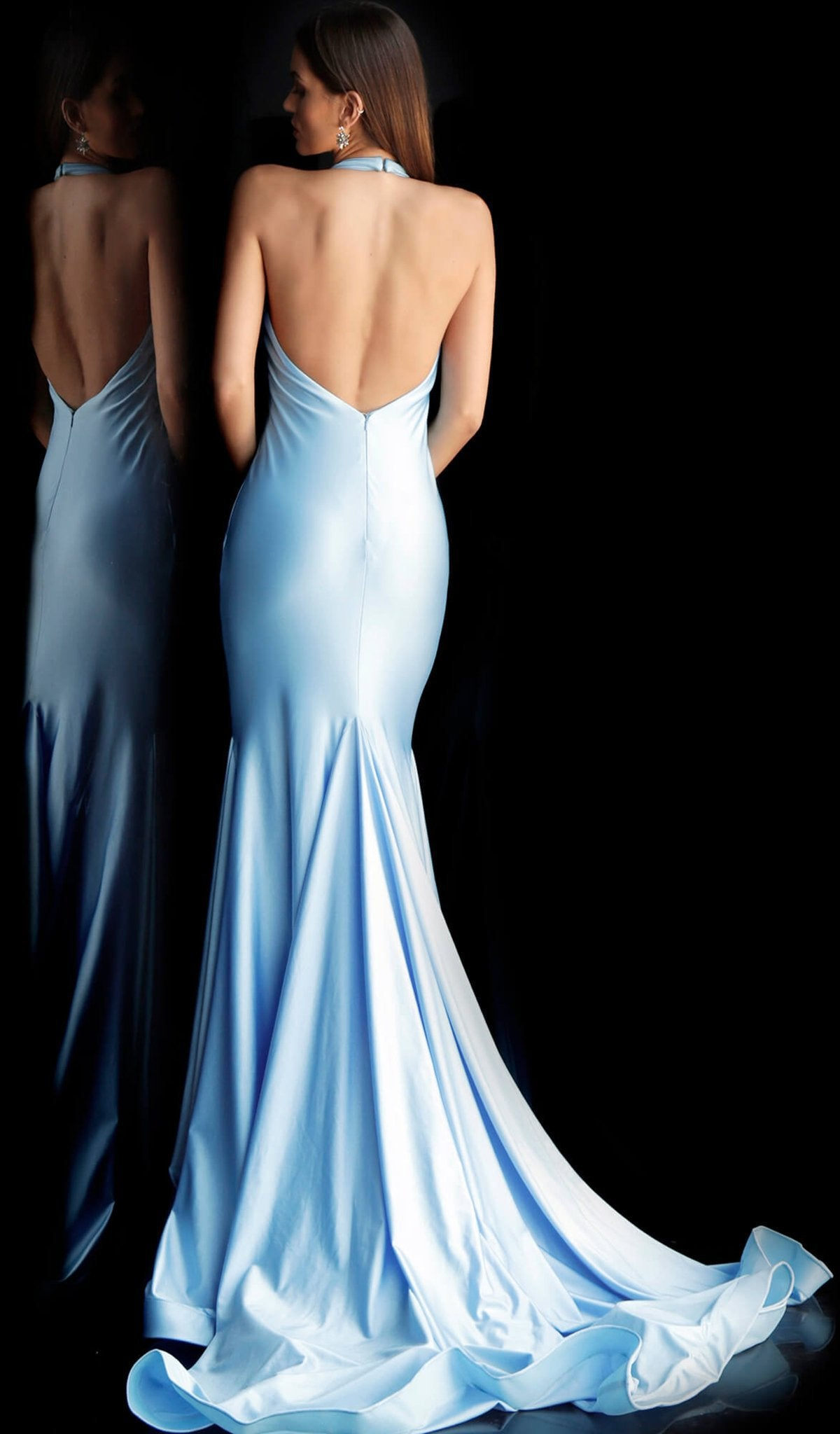Jovani - 68670 Plunging Illusion Halter Neckline Mermaid Prom Dress in Blue