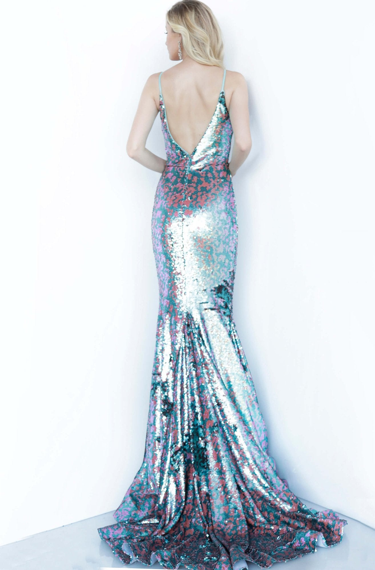 Jovani - 68705 Sequined Deep V-neck Trumpet Dress With Train In Multi-Color