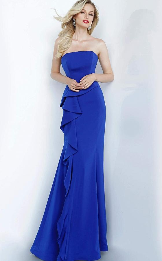 Jovani - 68774 Strapless Straight Neck Ruffled Trumpet Dress In Blue
