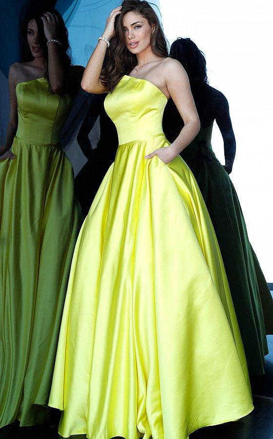 Jovani - 68993 Strapless Satin Pleated Ballgown In Yellow