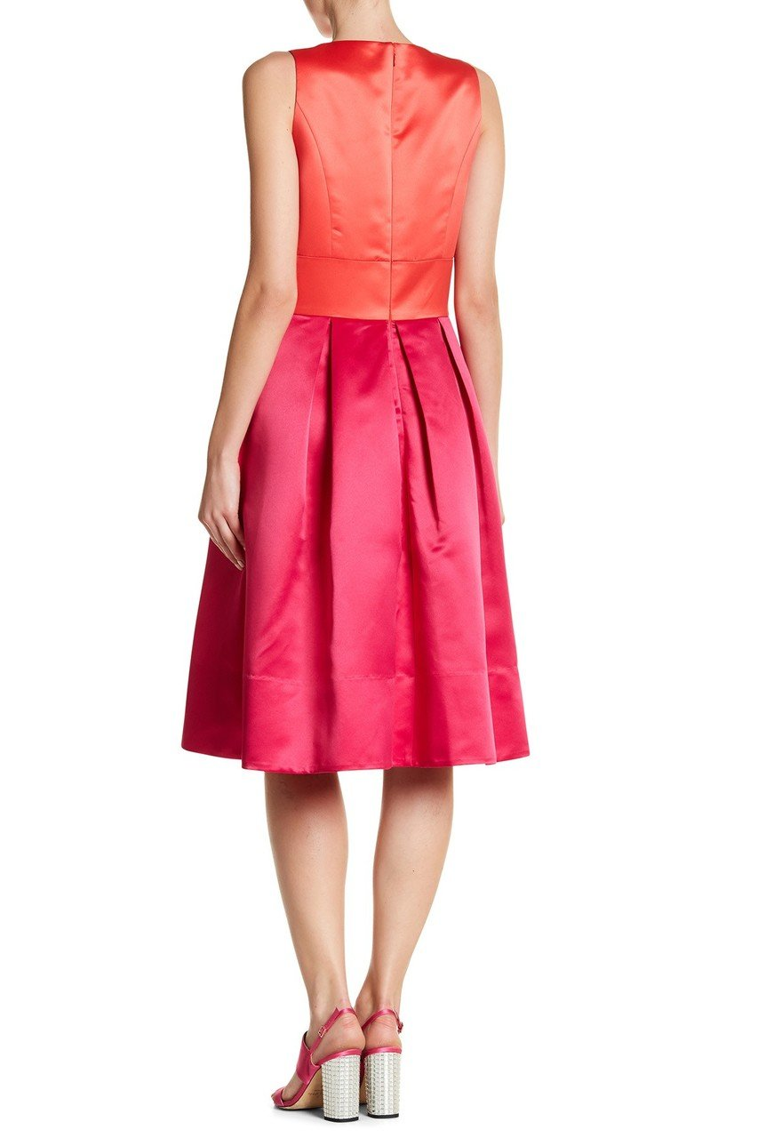 Sangria - SBLV1114 Sleeveless Color Block Satin Dress in Pink and Red