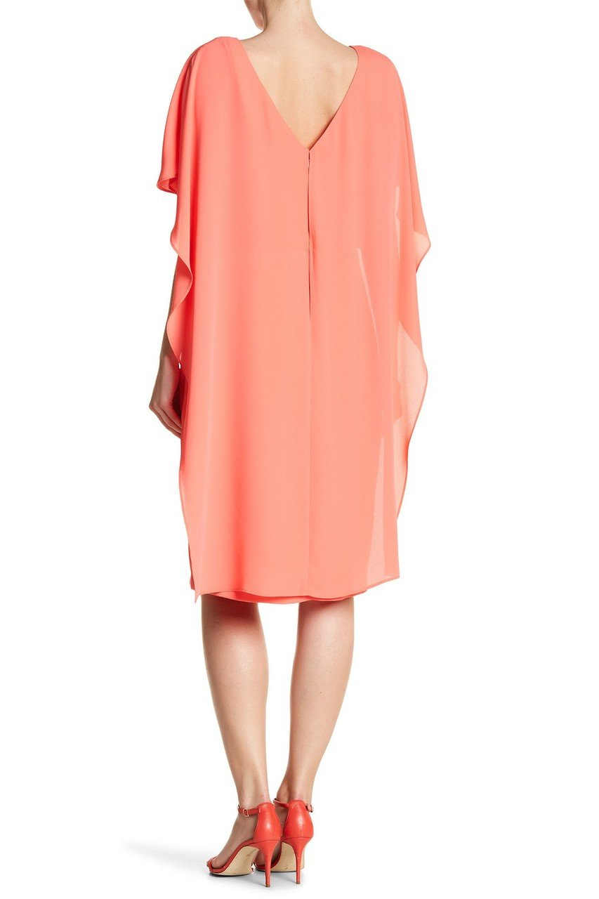 Sangria - SALU492 Chiffon Bateau Column Dress in Orange