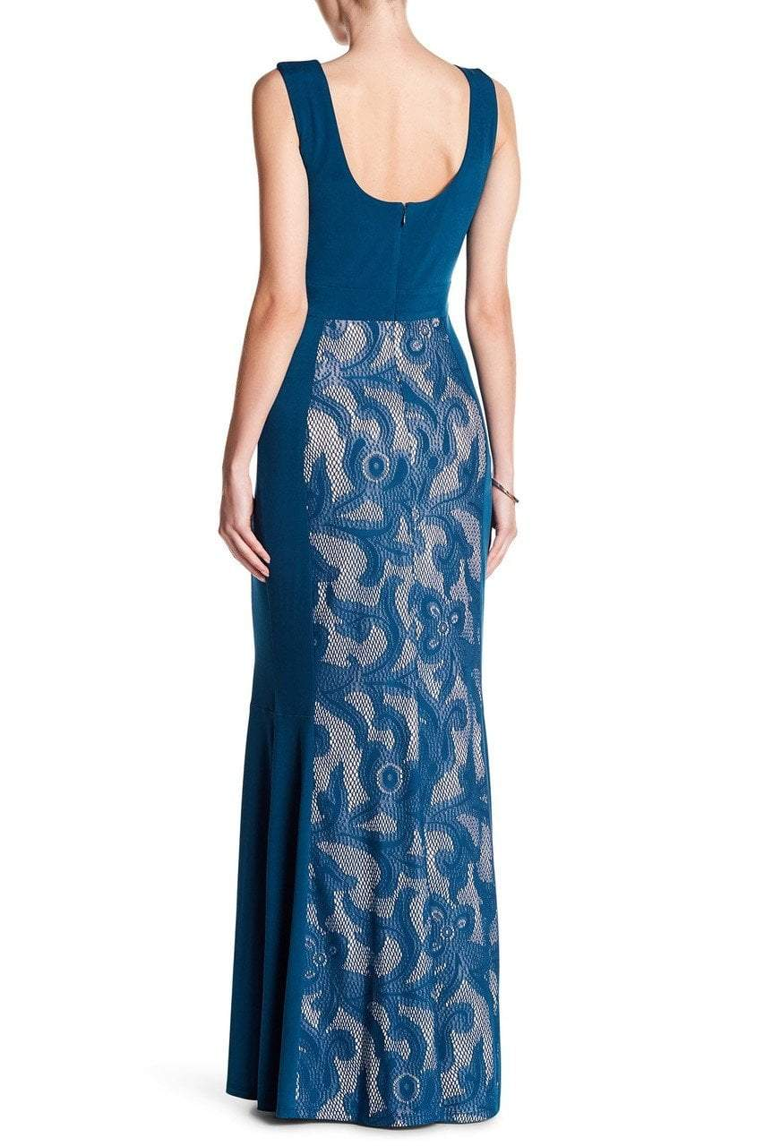 Sangria - DWHGC93 Sleeveless Lace Panel Gown in Blue and Neutral