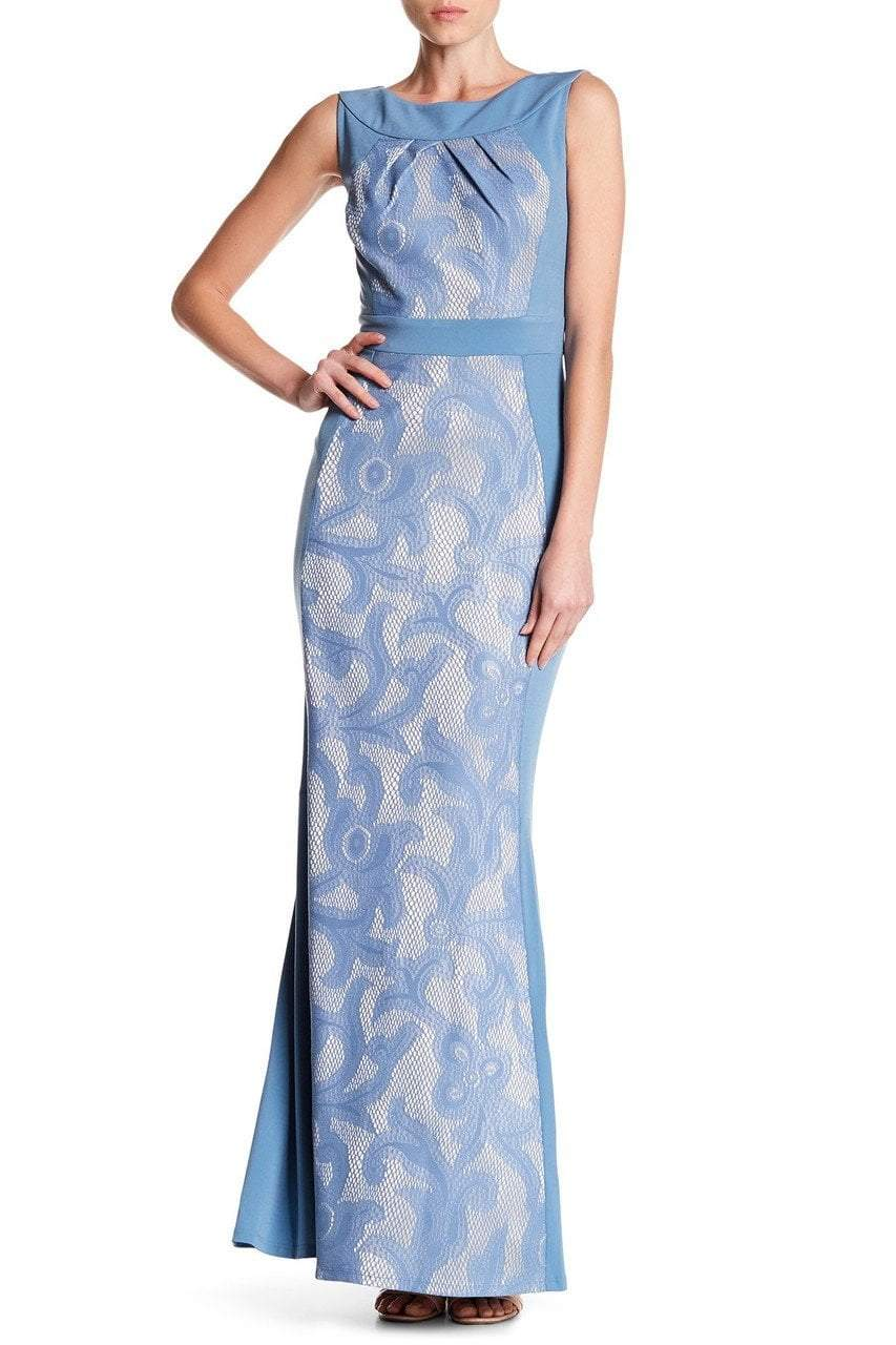 Sangria - DWHGC93 Sleeveless Lace Panel Gown in Blue and Silver