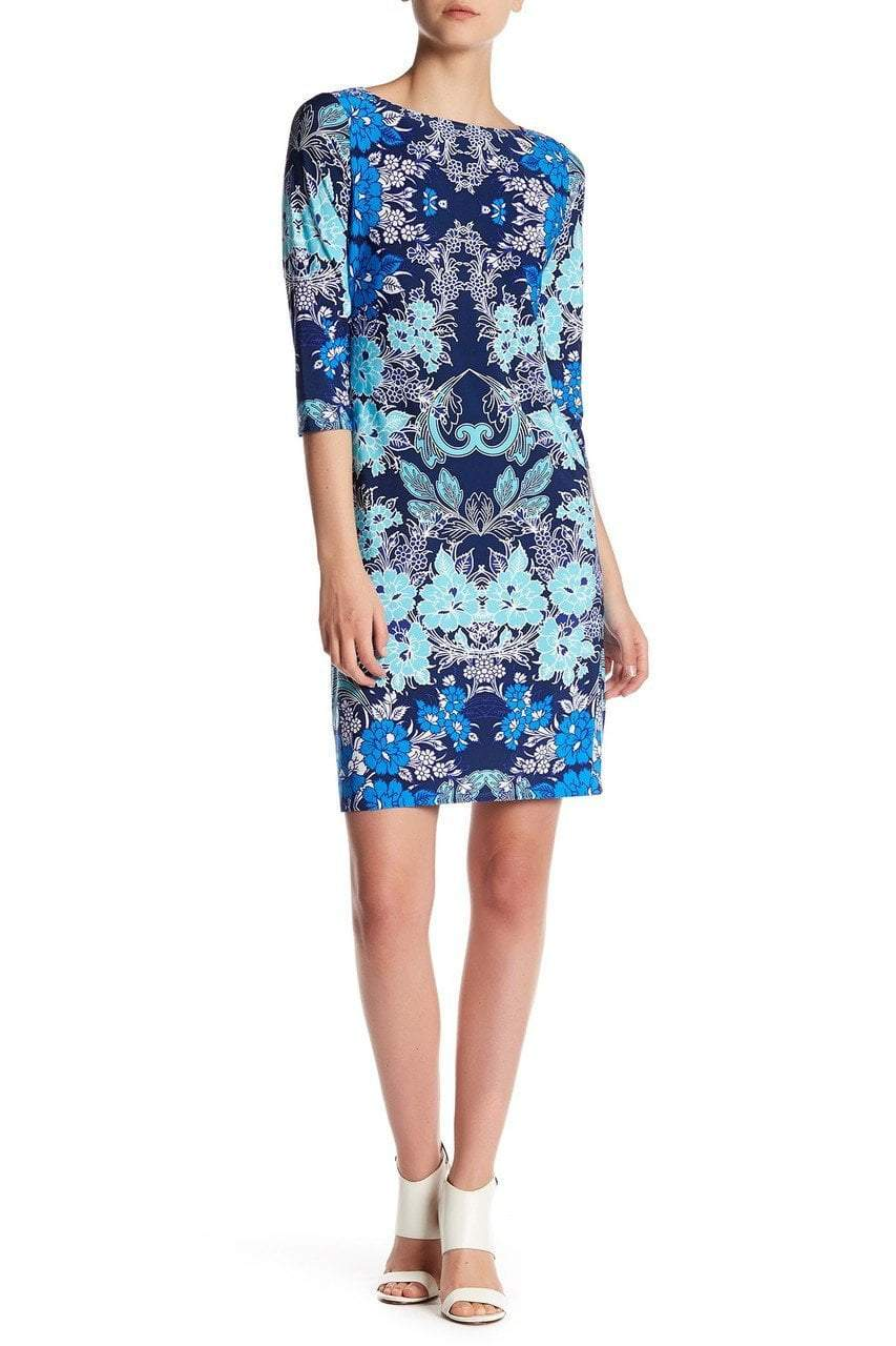 London Times - T2714MNR Quarter Sleeve Bateau Floral Dress in Blue
