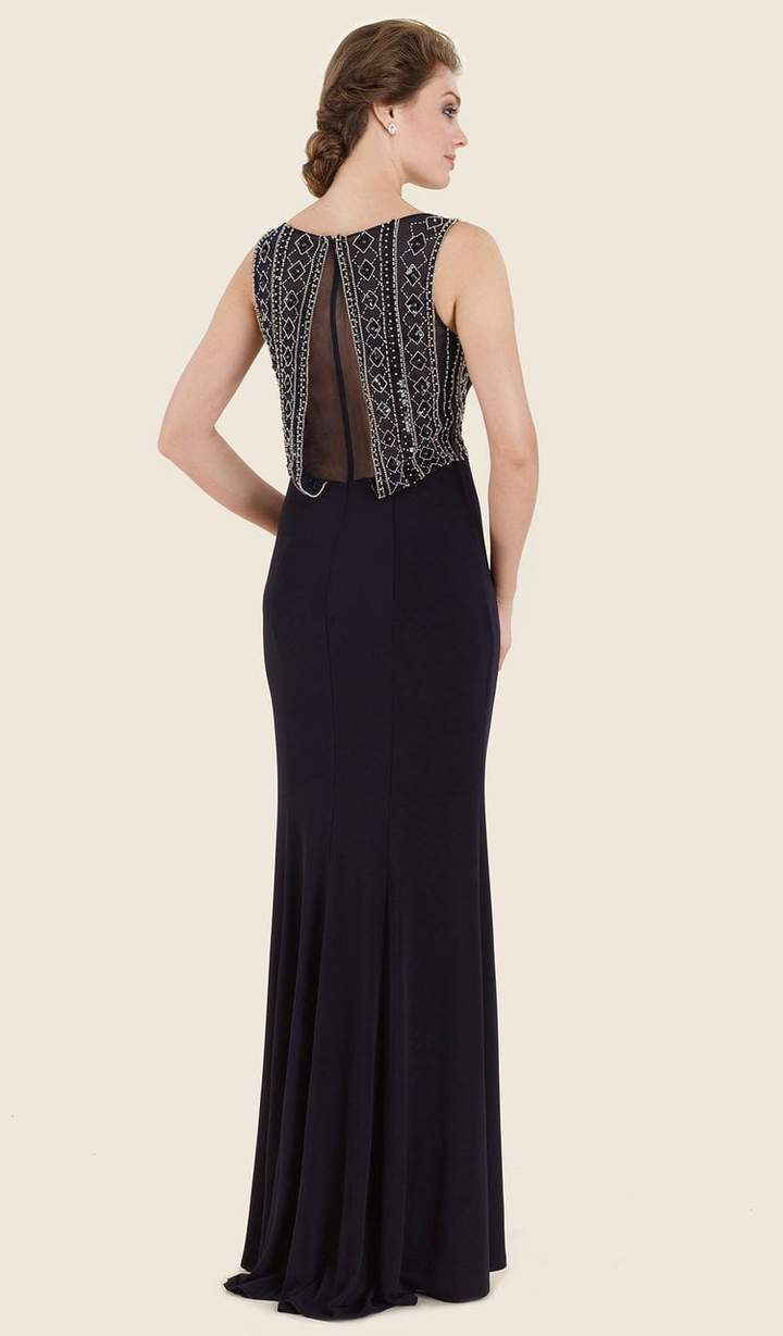 Rina Di Montella - Embellished Bateau Fitted Dress RD2609 In Black