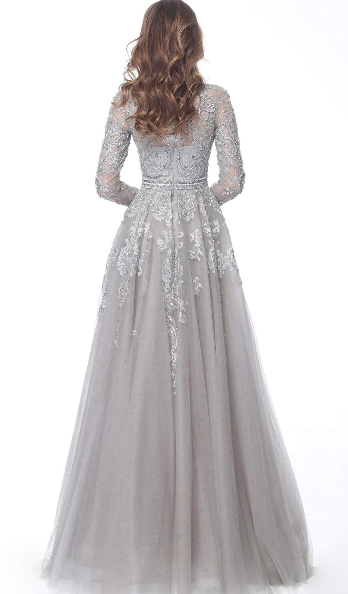 Jovani - 62777 Embroidered Long Sleeve High Neck A-line Dress In Silver