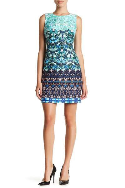 Taylor - Multi-Print Scuba Dress 9173MJ In Green and Multi-Color