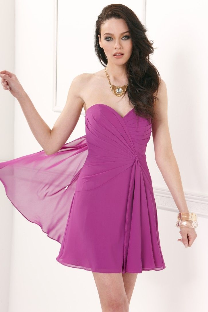 Faviana - Strapless Sweetheart Chiffon Short Cocktail Dress 7075a in Purple