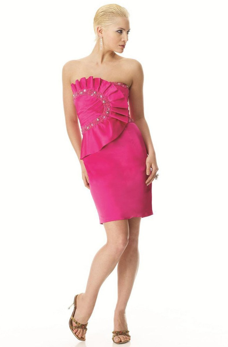 Janique Strapless Pleat-Detailed Sheath Dress JQ0831 In Pink