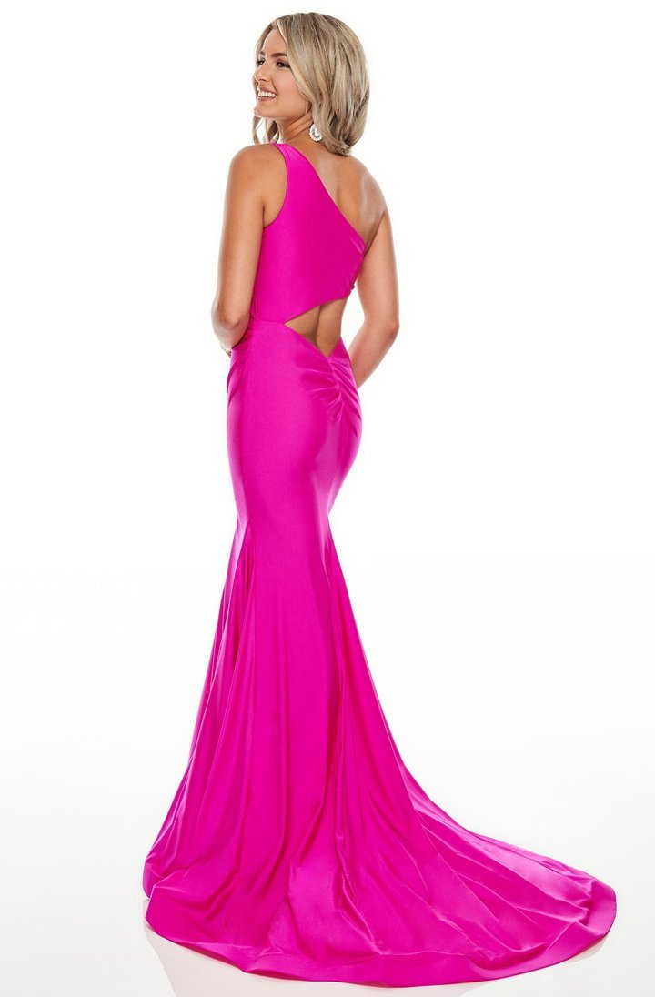 Rachel Allan - 7100SC One Shoulder Jersey Evening Dress
