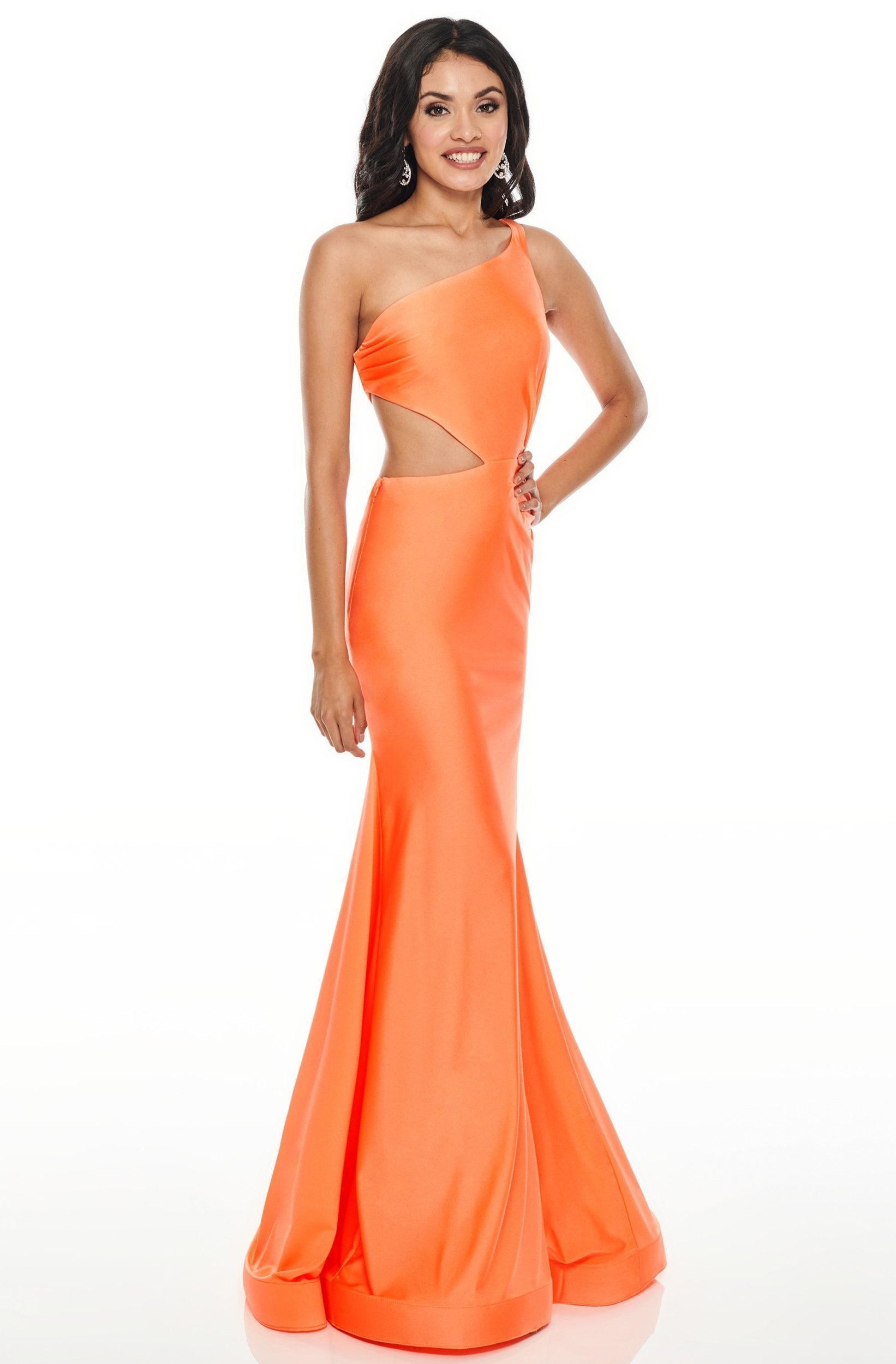 Rachel Allan - Asymmetrical Jersey Trumpet Evening Dress 7100 In Orange