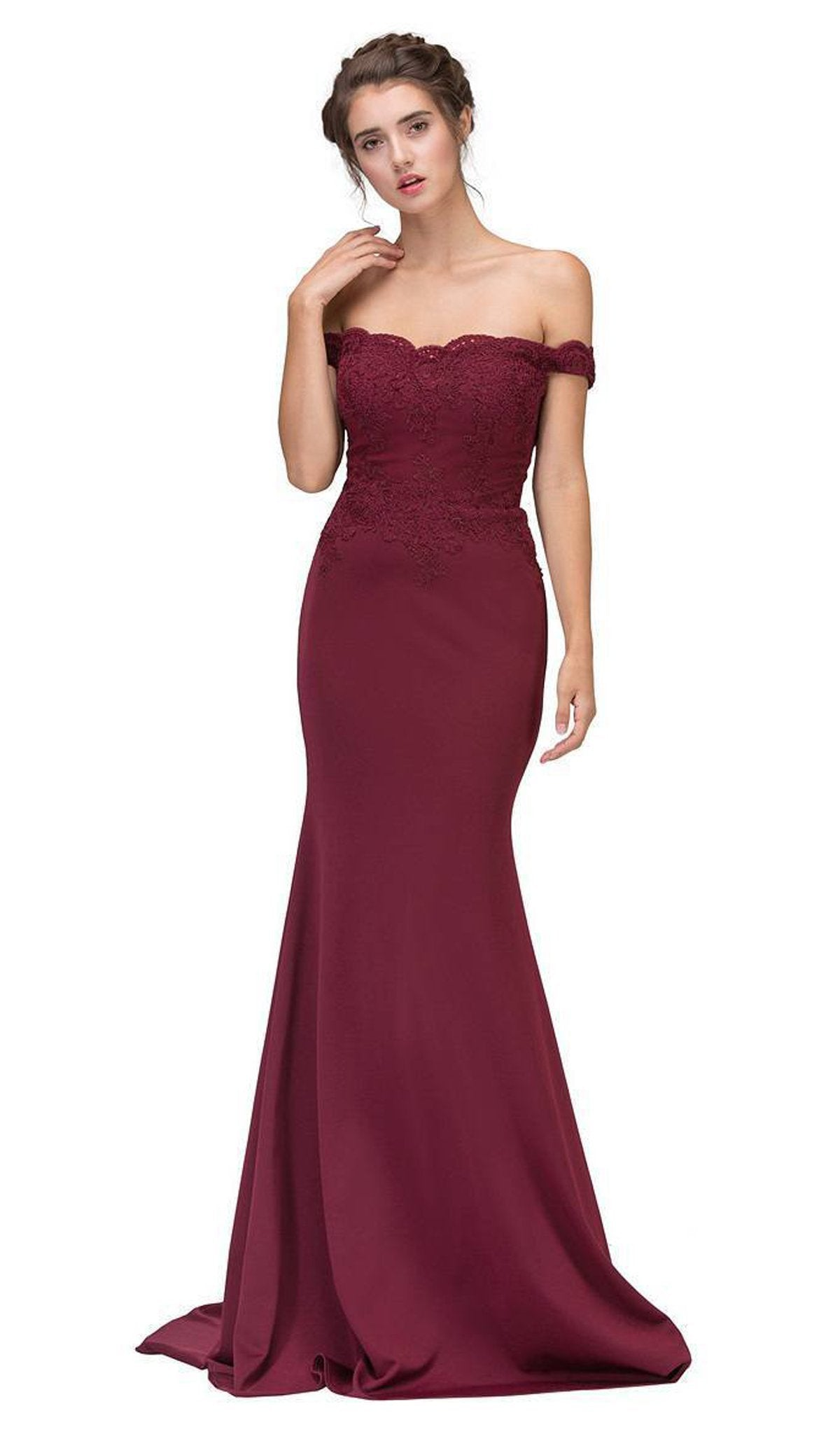Eureka Fashion - 7100SC Lace Appliqued Bodice Jersey Mermaid Gown