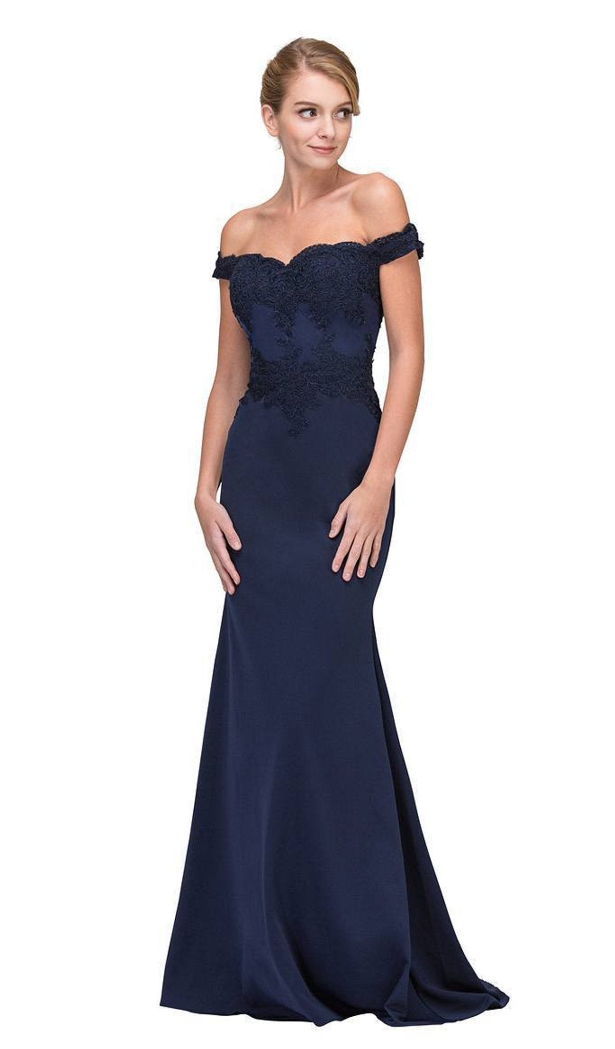 Eureka Fashion - Lace Applique Off Shoulder Jersey Mermaid Gown In Blue