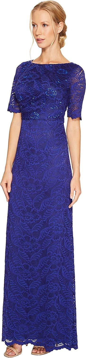 Adrianna Papell - AP1E201705 Lace Bateau A-Line Dress In Blue