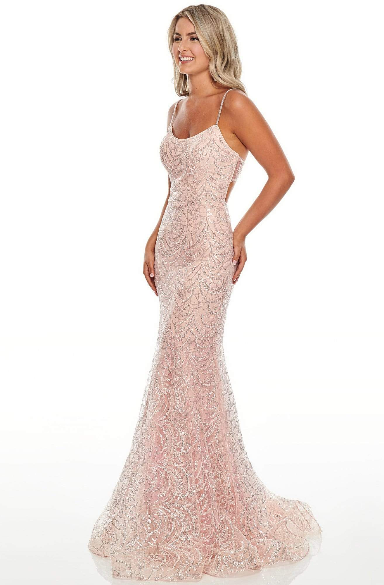 Rachel Allan Prom - 7112 Scoop Sequined Trumpet Dress Prom Dresses 2 / Blush