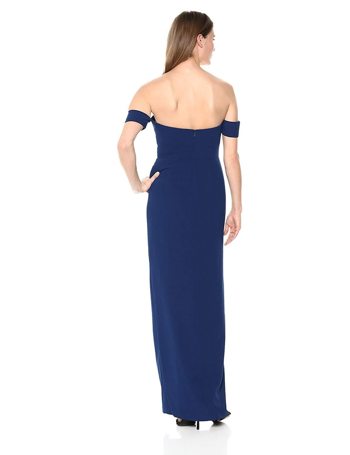 Aidan Mattox - MN1E201813 Off-Shoulder Solid Crepe Column Dress In Blue