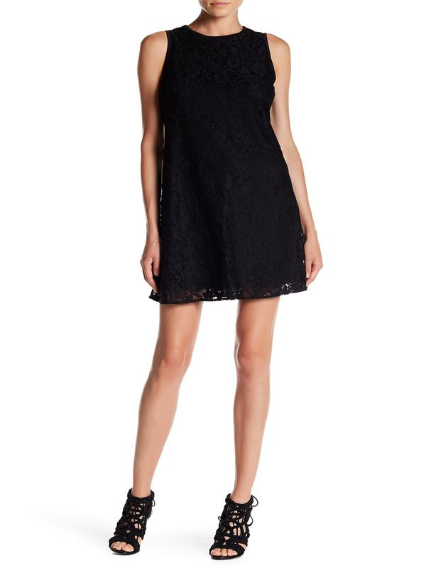 Nine West - 10647202 Sleeveless Floral Lace Cocktail Dress in Black