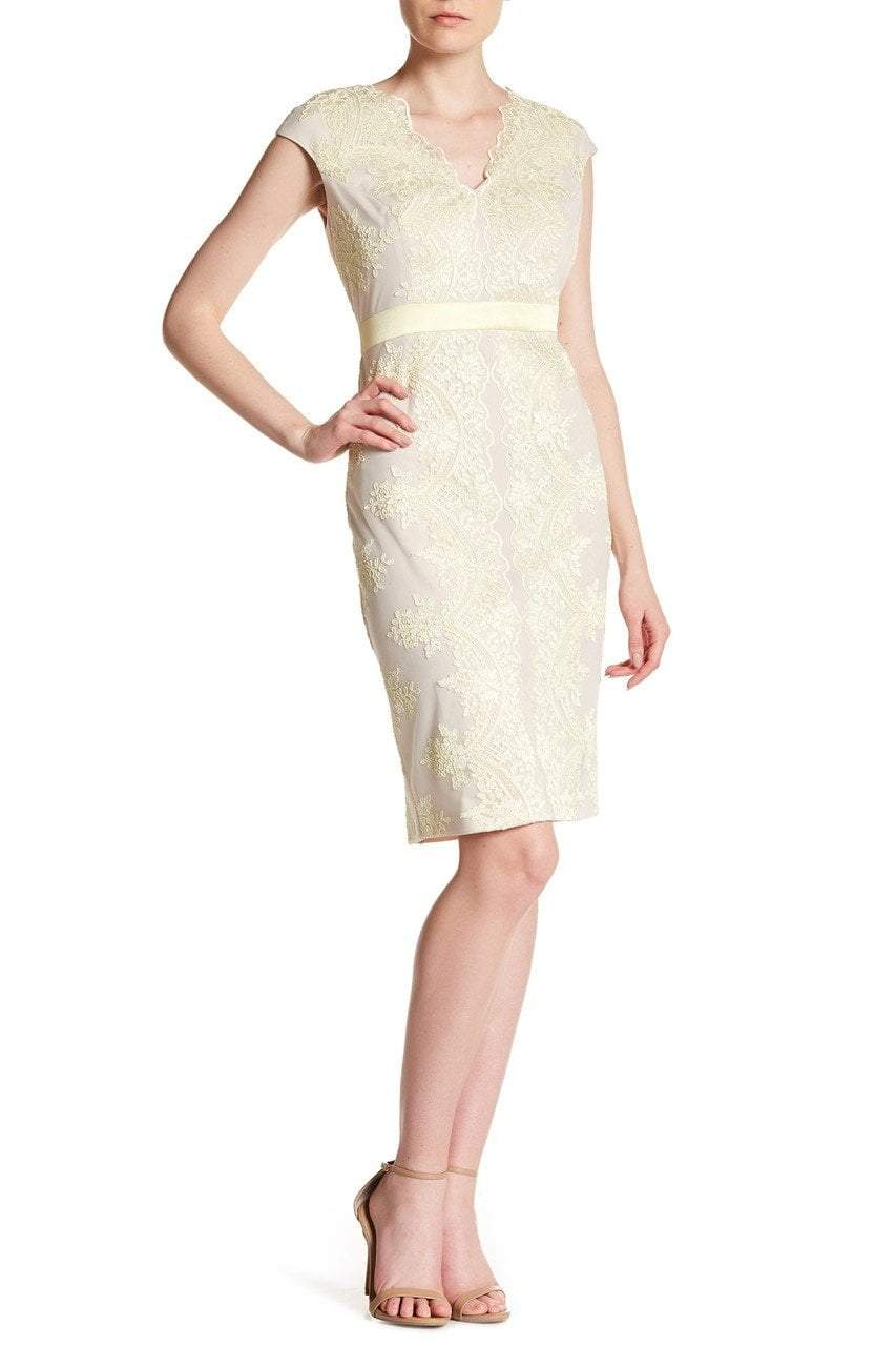 Sangria - DBLU929 Embroidered V-neck Sheath Dress in Neutral and Yellow