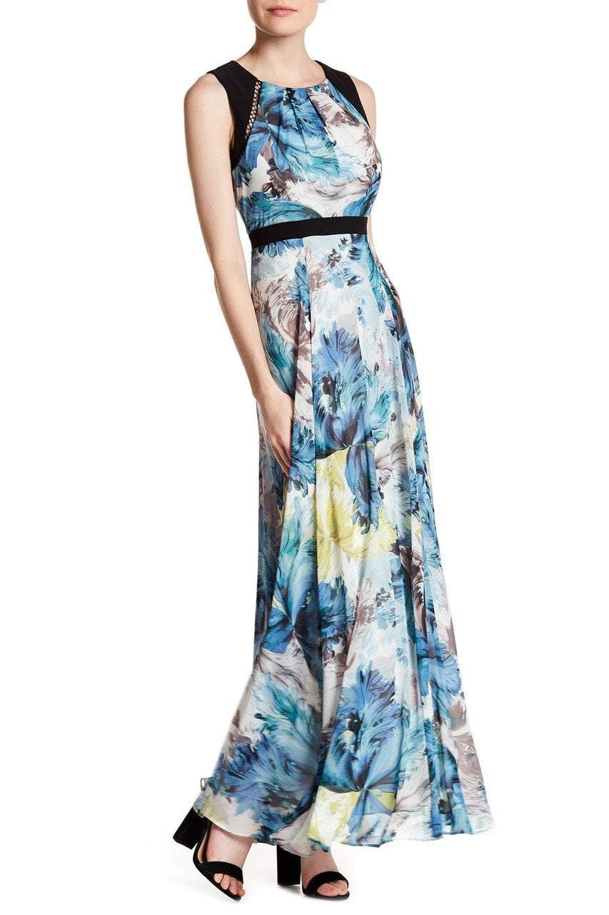 Sangria - DBLP1178 Multi-Printed Jewel A-line Dress in Multi-Color