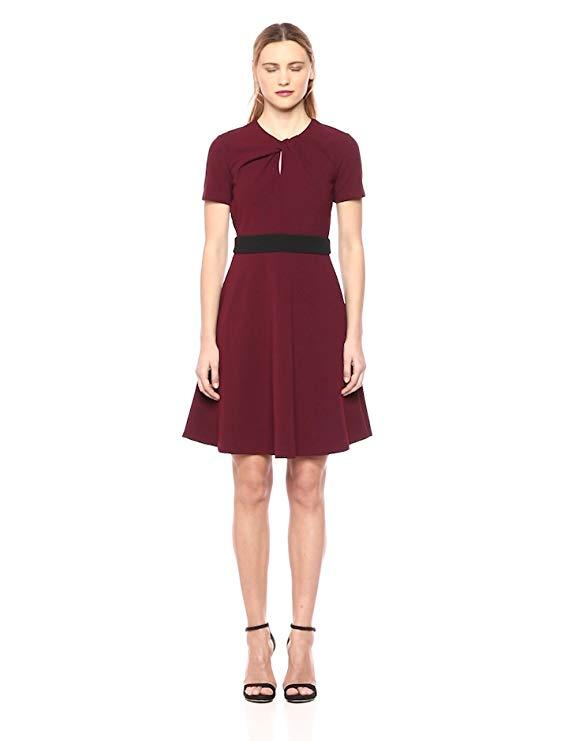 Taylor - 9942M Jewel Short Sleeves A-Line Cocktail Dress In Red