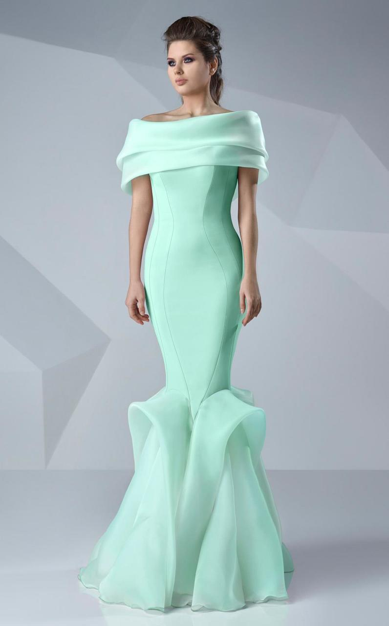 MNM Couture - Sleek Off-Shoulder Mermaid Dress G0620 in Green