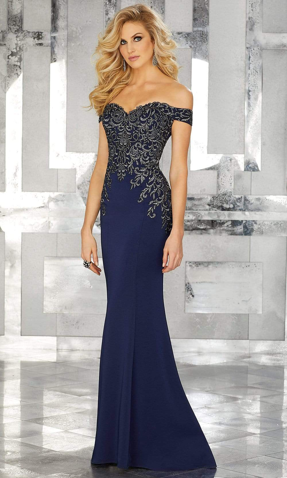 MGNY By Mori Lee - 71616 Embroidered Off-Shoulder Trumpet Dress Evening Dresses 2 / Navy