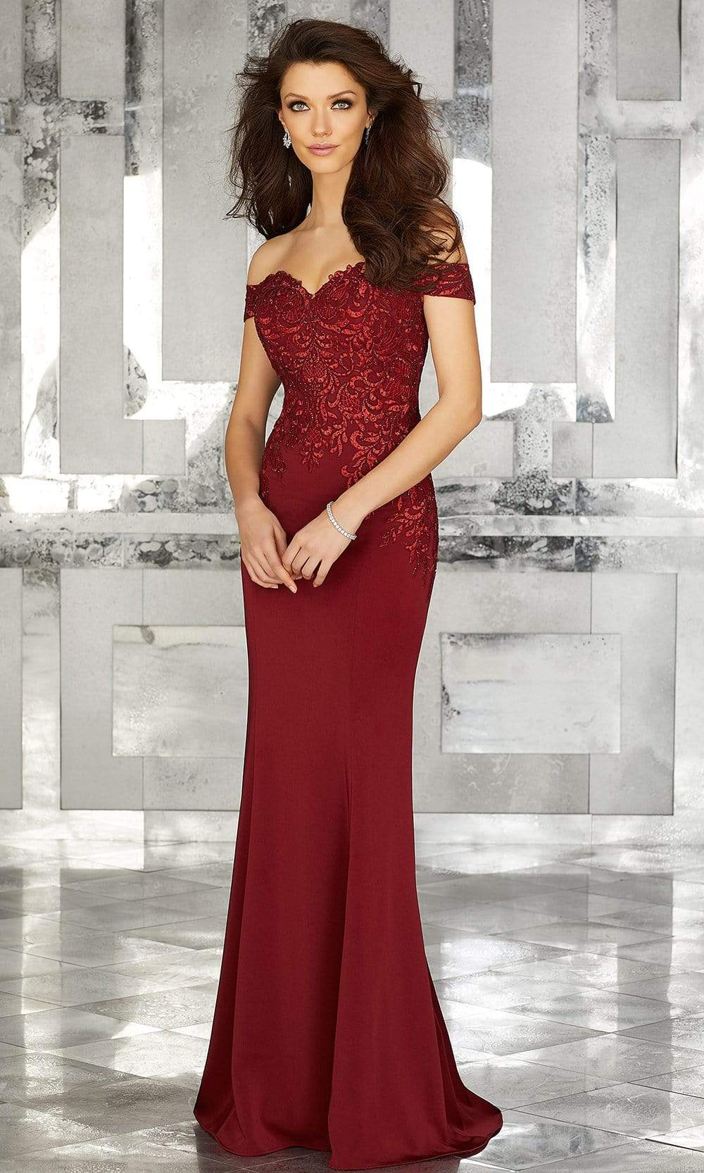 MGNY By Mori Lee - 71616 Embroidered Off-Shoulder Trumpet Dress Evening Dresses 2 / Wine