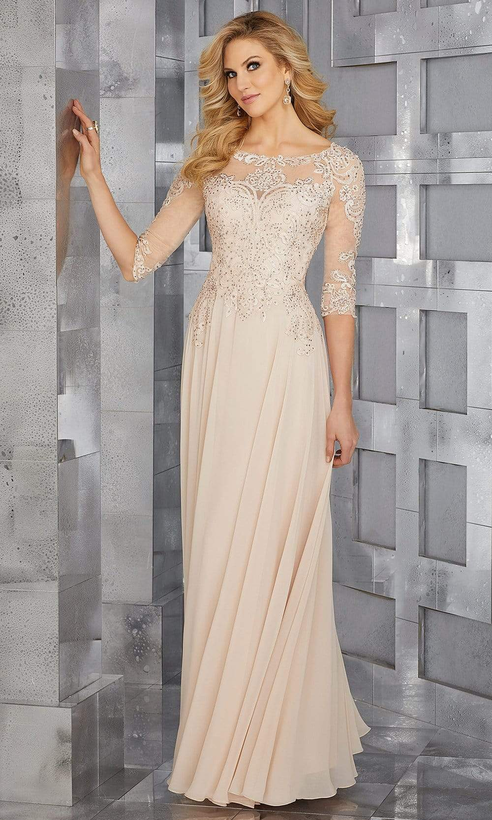 MGNY By Mori Lee - 71622 Embroidered Bateau Chiffon A-line Dress Mother of the Bride Dresses 2 / Champagne