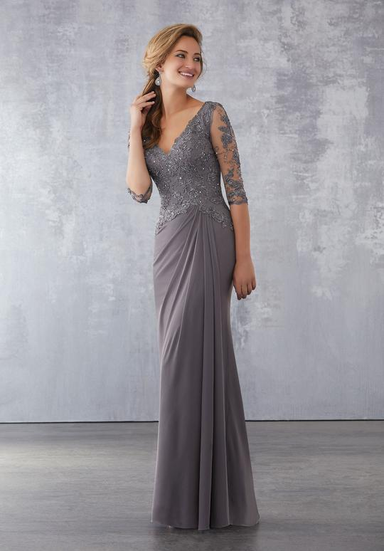 MGNY By Mori Lee - Embroidered Plunging V-neck Sheath Evening Gown 71728SC In Gray
