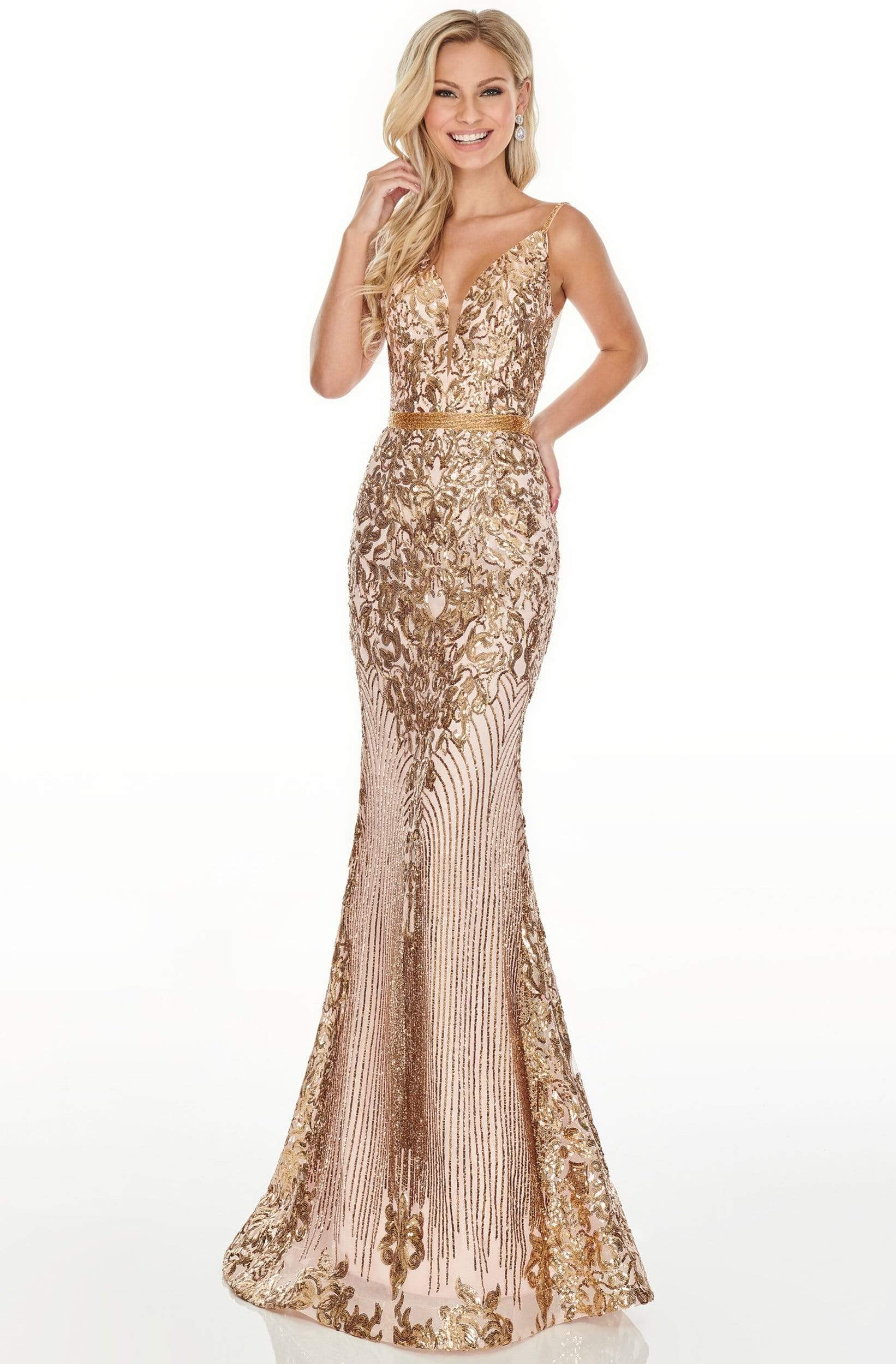 Rachel Allan Prom - 7177 Sequined Deep V-Neck Trumpet Dress Prom Dresses 0 / Blush Gold