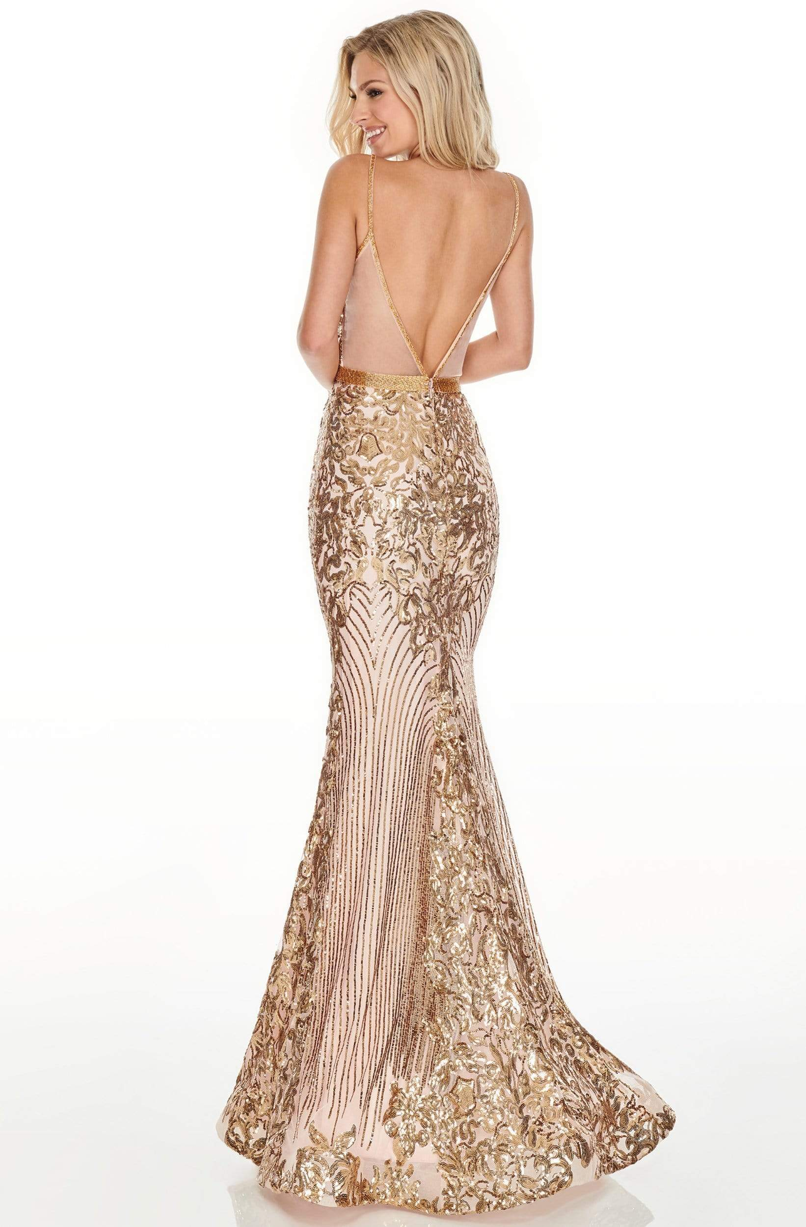 Rachel Allan Prom - 7177 Sequined Deep V-Neck Trumpet Dress Prom Dresses