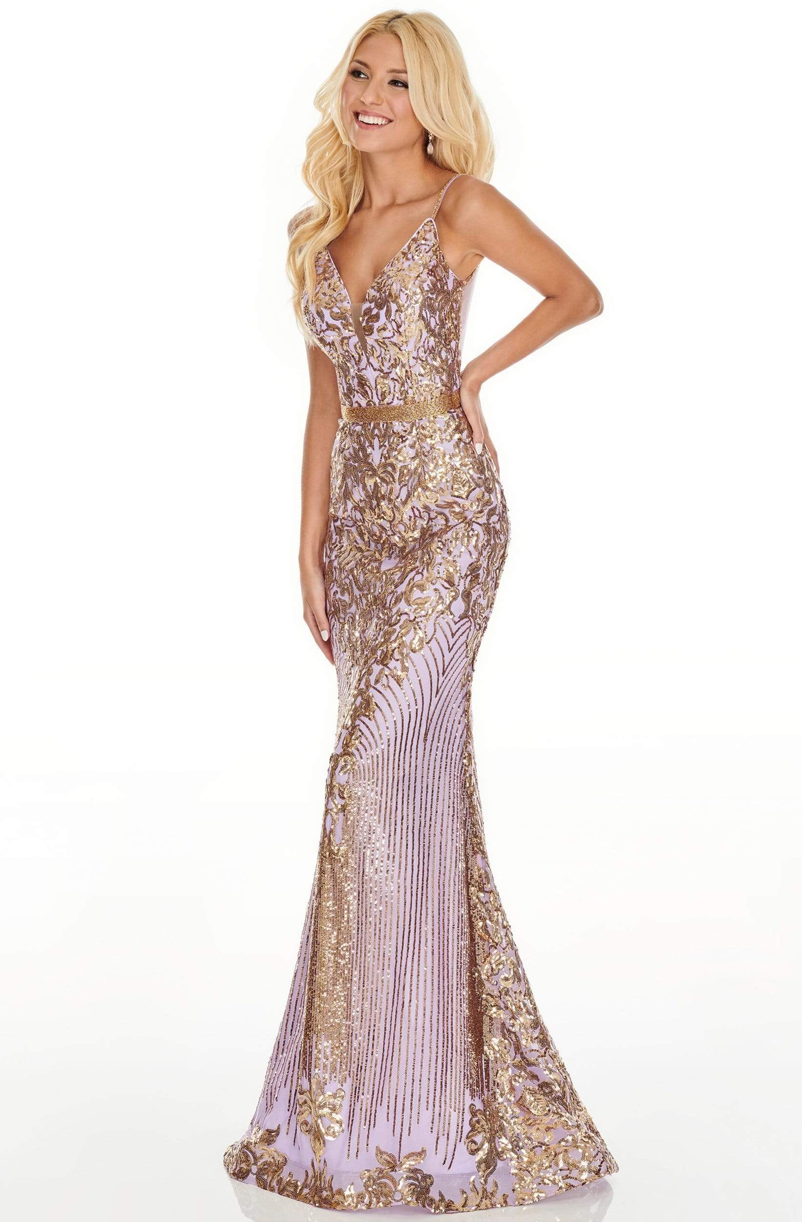 Rachel Allan Prom - 7177 Sequined Deep V-Neck Trumpet Dress Prom Dresses 0 / Lilac Gold