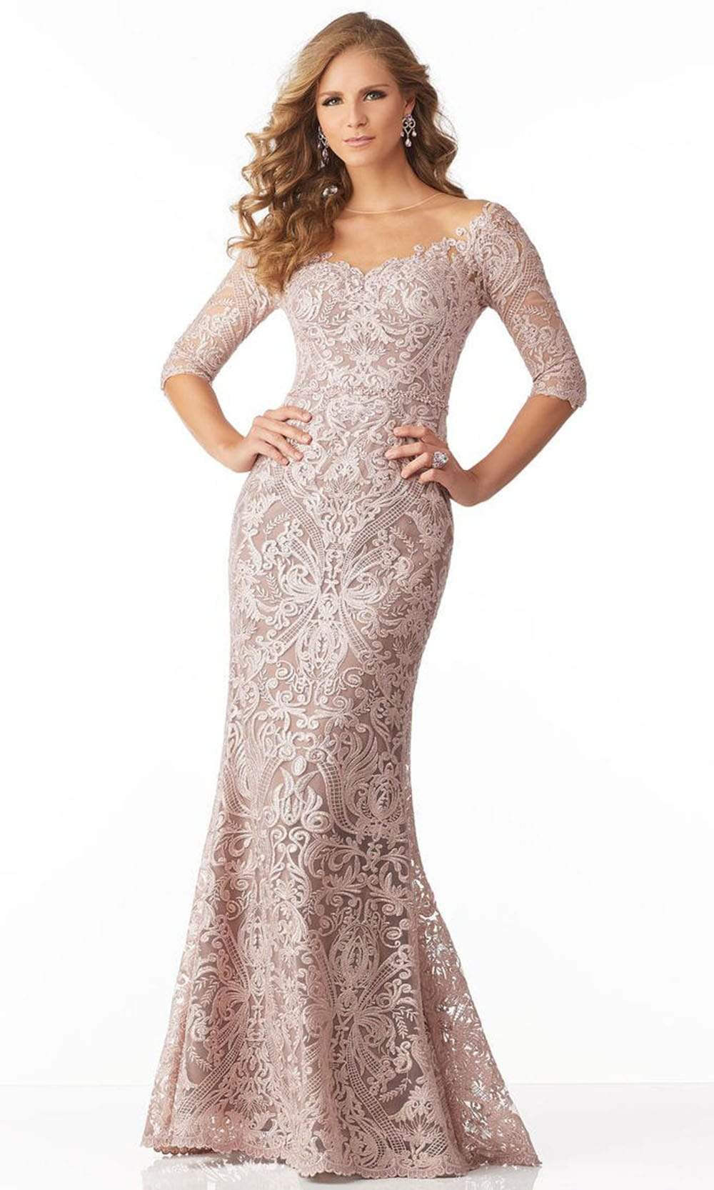 MGNY By Mori Lee - 71801 Elbow Sleeve Beaded Embroidery Evening Gown Mother of the Bride Dresses 00 / Blush