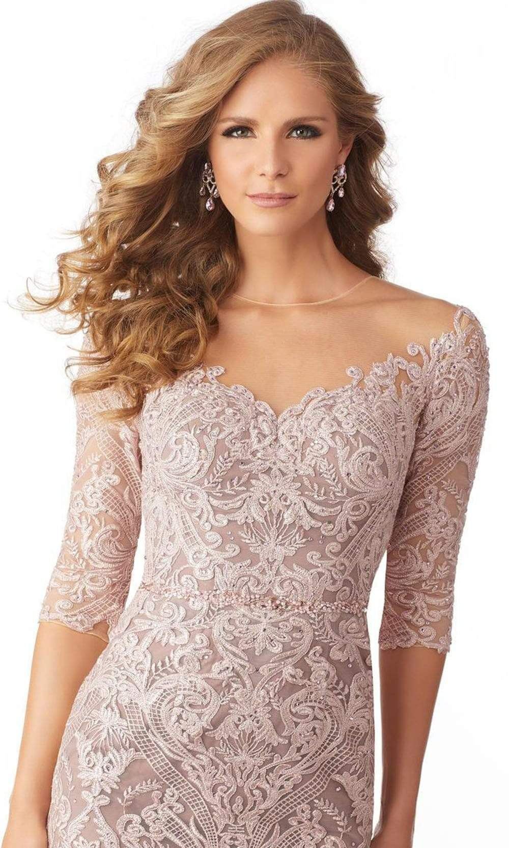 MGNY By Mori Lee - 71801 Elbow Sleeve Beaded Embroidery Evening Gown Mother of the Bride Dresses