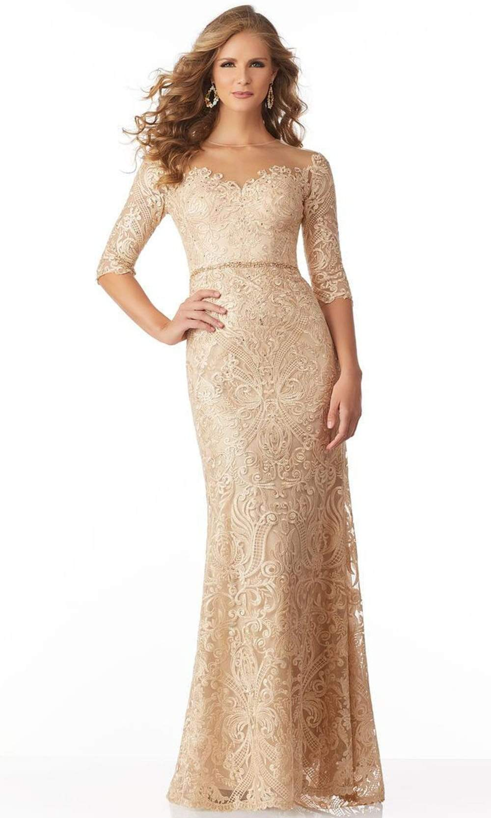 MGNY By Mori Lee - 71801 Elbow Sleeve Beaded Embroidery Evening Gown Mother of the Bride Dresses 00 / Champagne