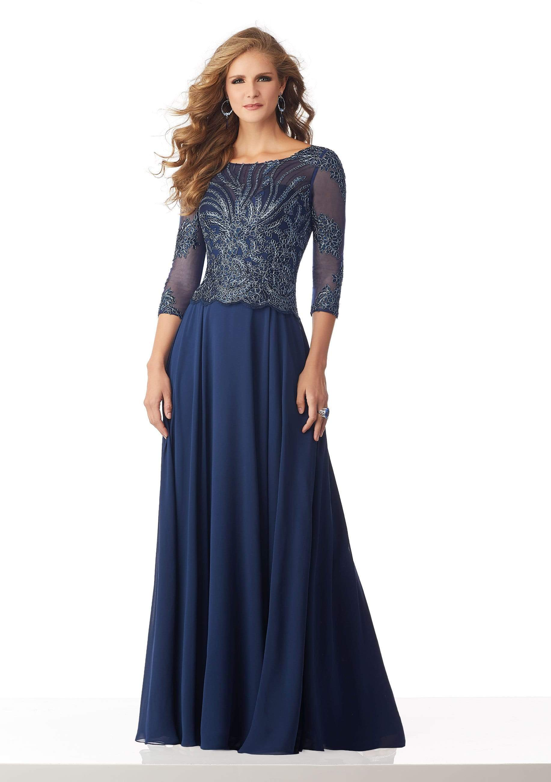MGNY By Mori Lee - 71813 Metallic Lace A-Line Evening Dress Mother of the Bride Dresses 0 / Navy