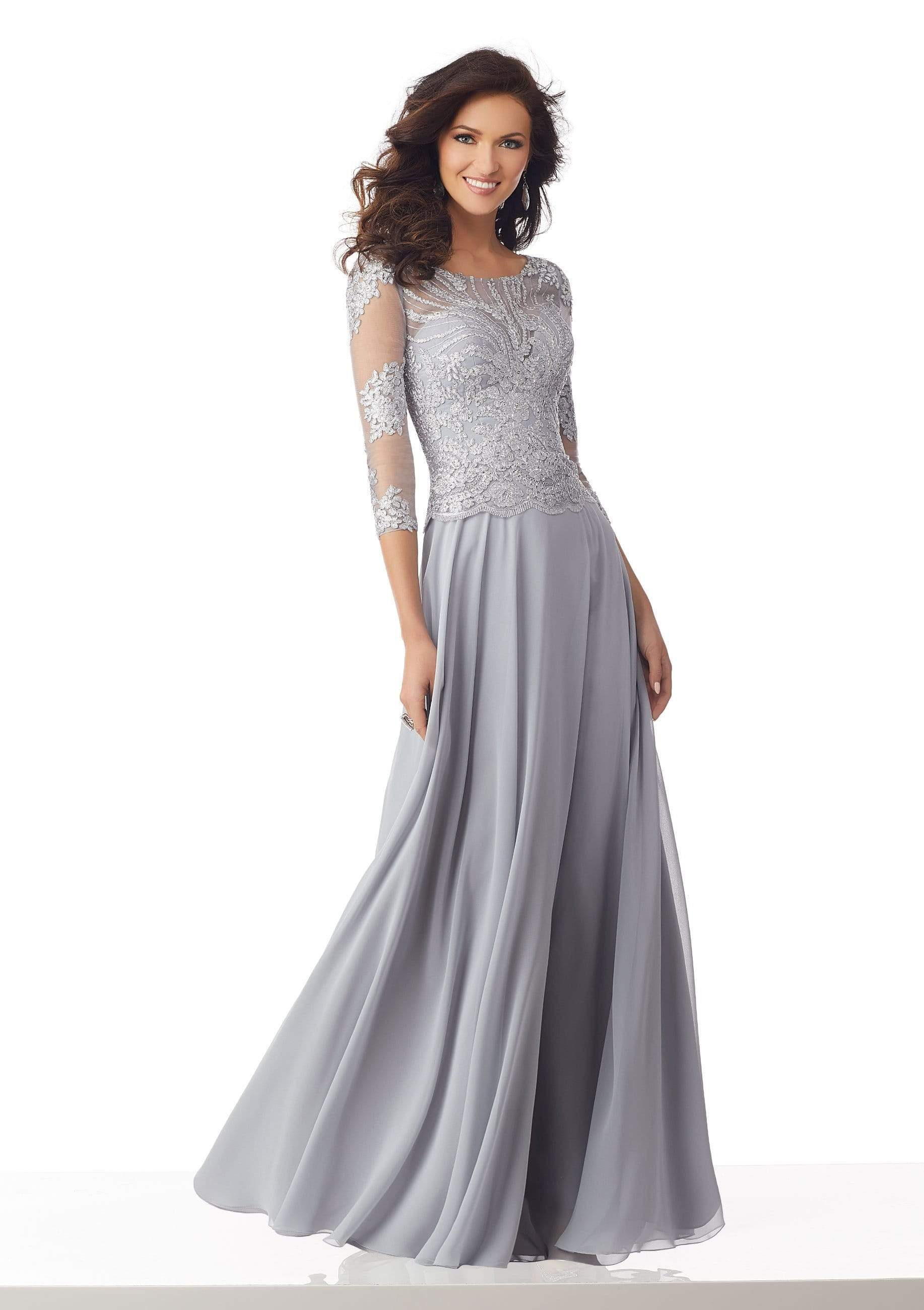 MGNY By Mori Lee - 71813 Metallic Lace A-Line Evening Dress Mother of the Bride Dresses 0 / Silver
