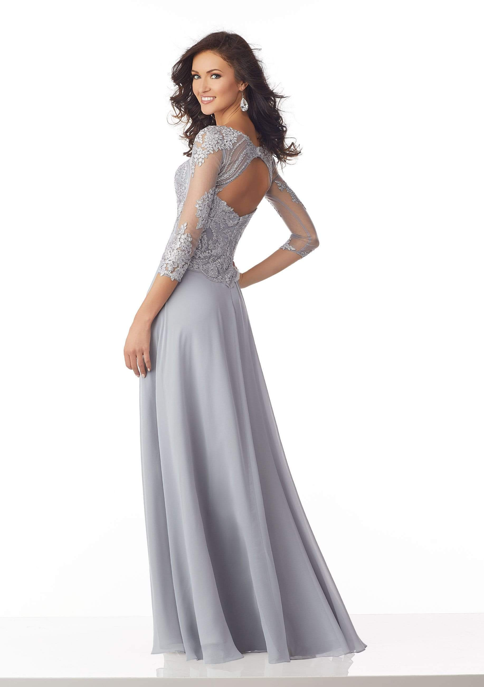 MGNY By Mori Lee - 71813 Metallic Lace A-Line Evening Dress Mother of the Bride Dresses