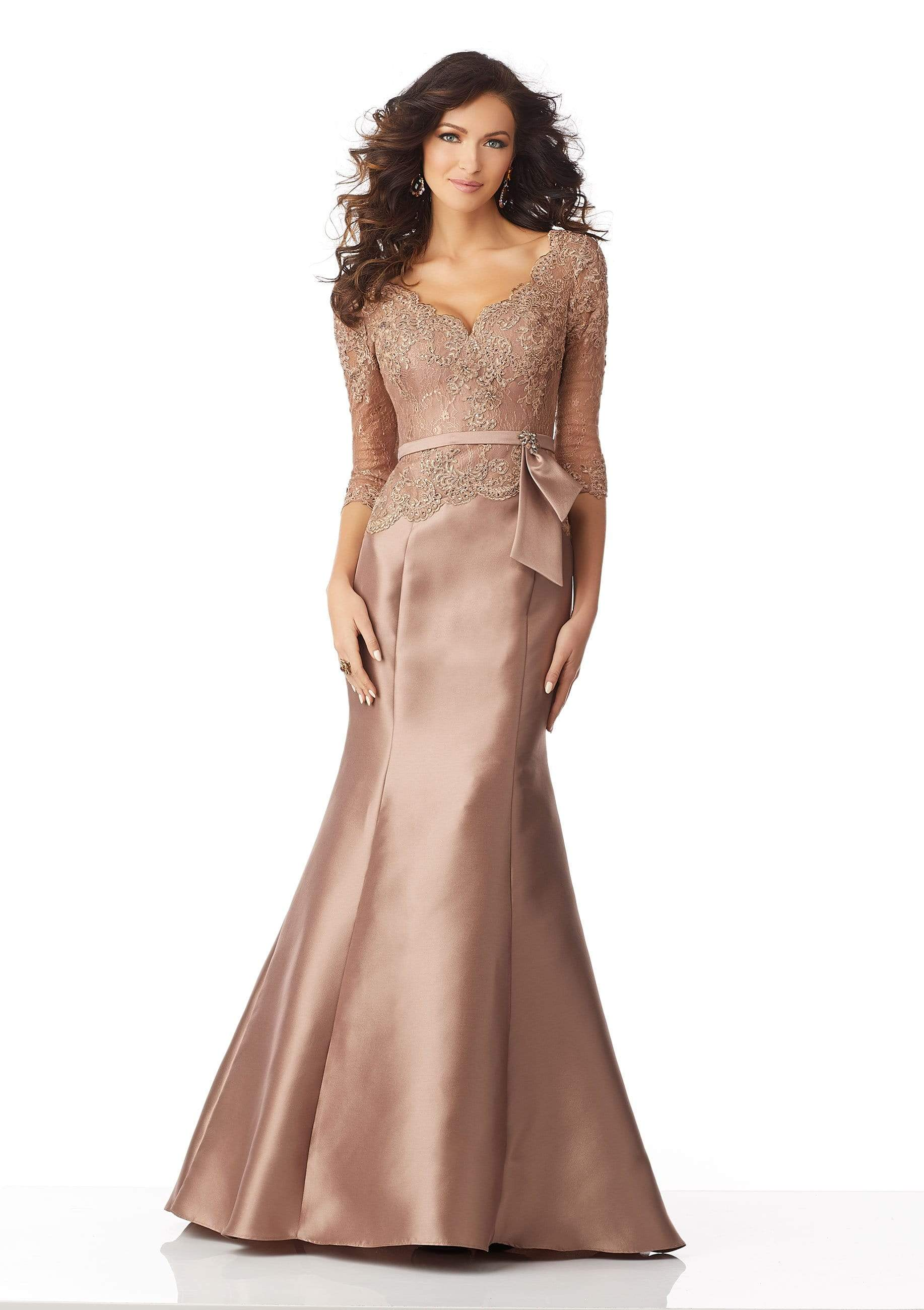 MGNY By Mori Lee - 71817 Beaded Lace Quarter Sleeves Trumpet Gown Evening Dresses 0 / Bronze