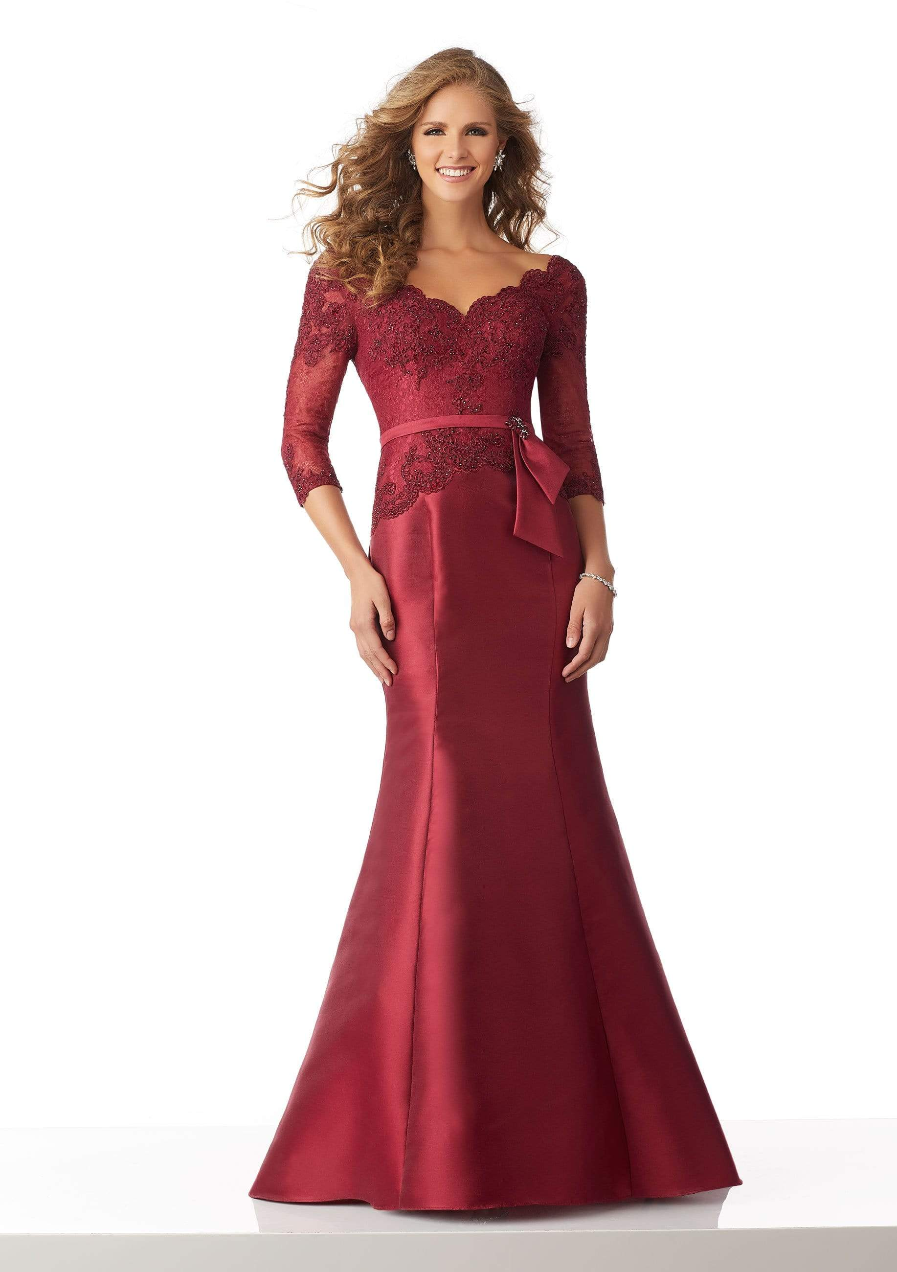 MGNY By Mori Lee - 71817 Beaded Lace Quarter Sleeves Trumpet Gown Evening Dresses 0 / Wine